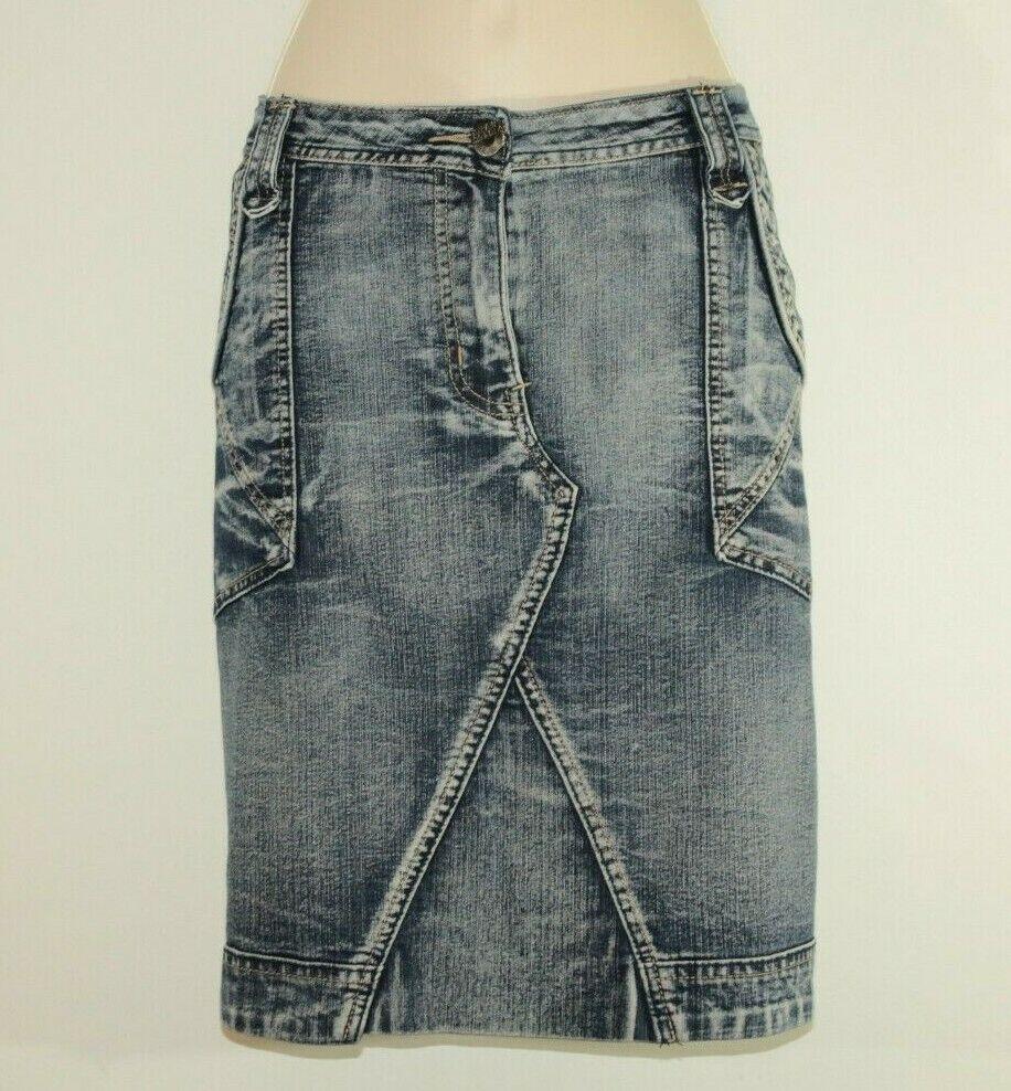bluee Denim ZHENZI JEANS Zip Acid Wash Straight Mini Casual Skirt Size 22 50 L 21