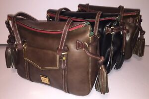 Dooney-amp-Bourke-Toledo-Leather-Small-Smith-Bag-Black-Gray-Olive-TS167-NWT