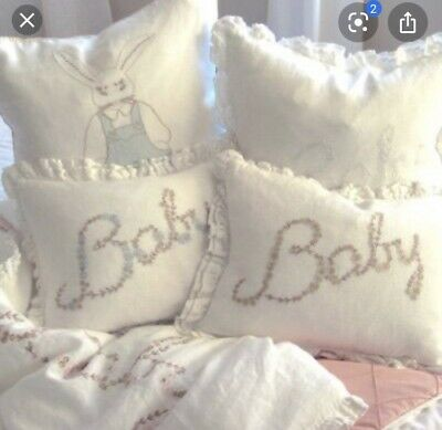 Pom Pom At Home By Hilde Leiaghat Embroidered Accent Pillow Baby Ruffled Edge Ebay