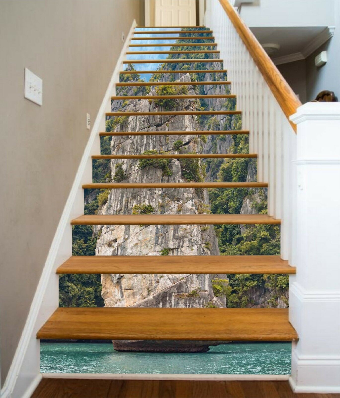 3D Hills Lake Stone Stair Risers Decoration Photo Mural Vinyl Decal Wallpaper CA