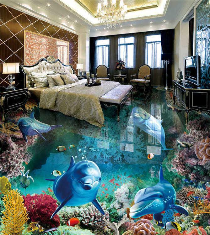 Naughty Blau Shark Coral 3D Floor Mural Photo Flooring Wallpaper Home Printing