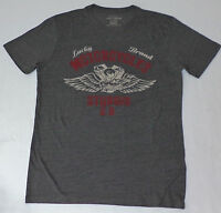 Lucky Brand Short Sleeve Gray Graphic T-shirt Sturgis S.d. Large L913