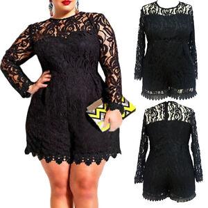 56e9e33479a33 4X Plus Size Women Long Sleeve Lace Evening Party Playsuit Short ...