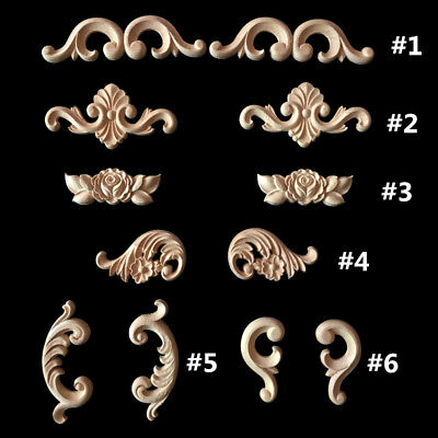European Style Carved Wood Corner Wall Onlay Door Applique Unpainted Decoration
