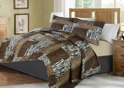 Printed Animal Designs Bedspread Coverlet Quilt 2//3 Piece Set with Pillow Shams