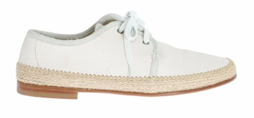 NEW DOLCE & GABBANA Shoes White Leather Casual Laceup Mens EU44 US11