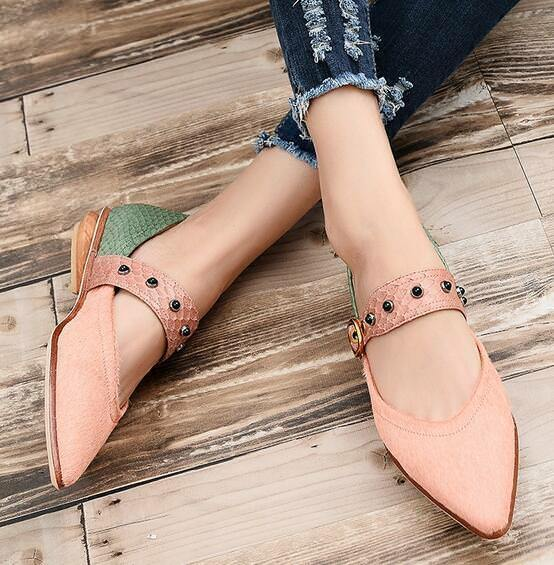 Ths01 Donna Mixed Colors Pelle Buckle Strap Pointed Toe Boat Scarpe Loafers HO