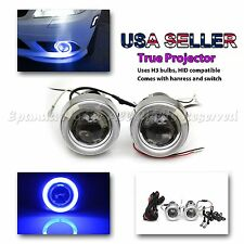 "JDM STYLE 3"" PROJECTOR BLUE LED HALO FOG LIGHTS/LAMPS + DUAL SWITCH FOR TOYOTA"