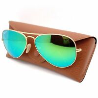 Ray Ban 3025 112/p9 Matte Gold Green Mirror Polarized Guaranteed Authentic