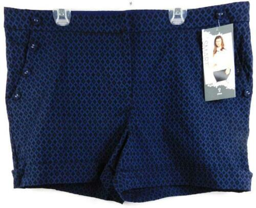 Maurices blue black rhombus print front button detail dressy shorts 16