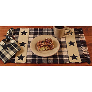 Country Farmhouse Black Tan Star Placemats Set 4 Nice