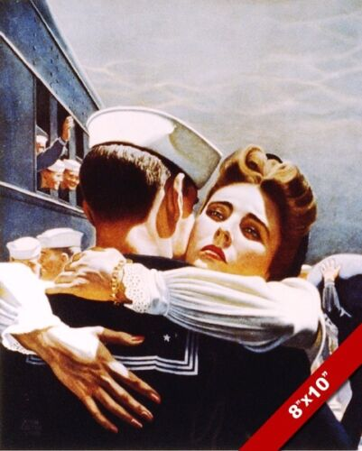 BRING HIM HOME WWII US NAVY SAILOR /& WIFE GOODBYE PAINTING REAL CANVASART PRINT