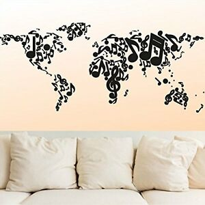 image is loading vinyl wall decal sticker map world music melody