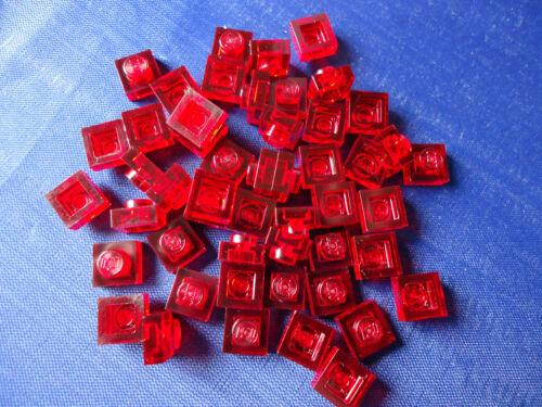 Utilisé 1 x 1 trans Brique Rouge plaque x 50 partie 3024