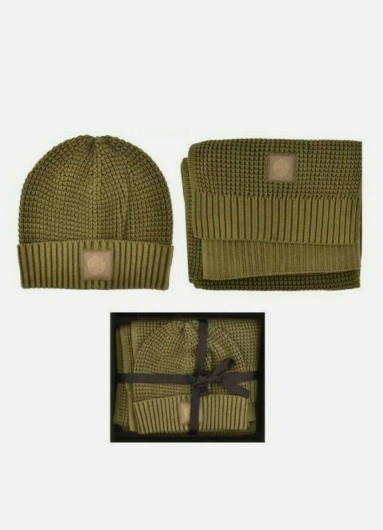 Pretty Green Beanie Hat And Scarf Gift Set Khaki With a gift box