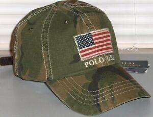 POLO-RALPH-LAUREN-Men-039-s-USA-Flag-CAMO-Baseball-Cap-Sport-Hat-Camouflage-NWT
