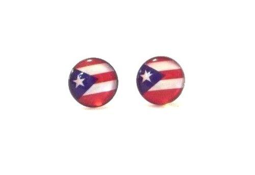 "3 pairs PUERTO RICO FLAG UNISEX METAL PIERCED STUD EARRINGS GIFT SOUVENIRS 5//16/"""