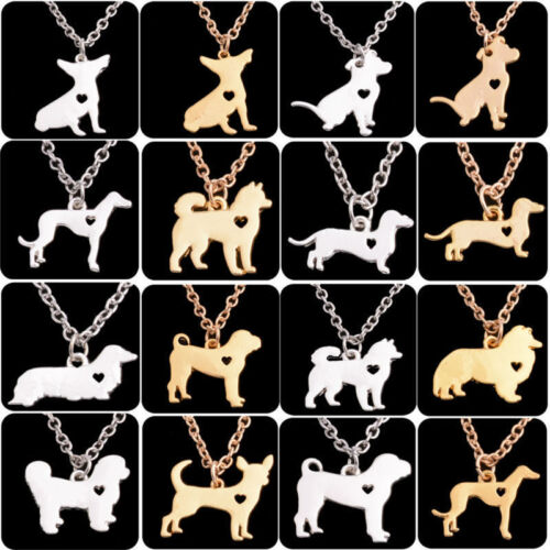 Silver Dog Puppy Pendant Necklace Box Chain Bulldog Dachshund Shepherd Chic Gift