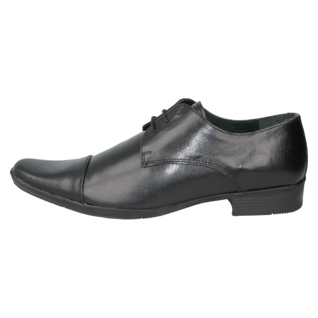 Mens Black Leather Lace Up Lambretta Formal Shoes Floyd 1754
