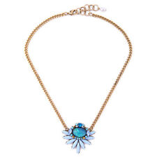 Exquiste J CREW lobelia Flower Blue Lavender Yellow Gemmed Necklace