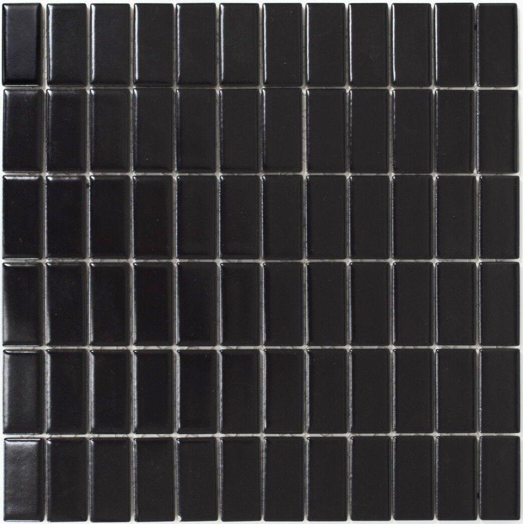 Mosaïque carreau céramique baguettes schwarz mat cuisine mur 24B-0311_f  10 plaques