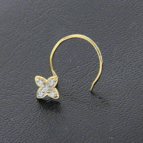 0.06 ct Round Diamond Flower Nose Stud Ring Piercing Pin 9ct Yellow Gold Over