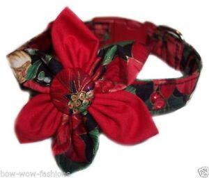 Black-Buckle-SPIFFY-POOCHES-Dog-Collar-Christmas-Pointsetta-Blossom-Flower