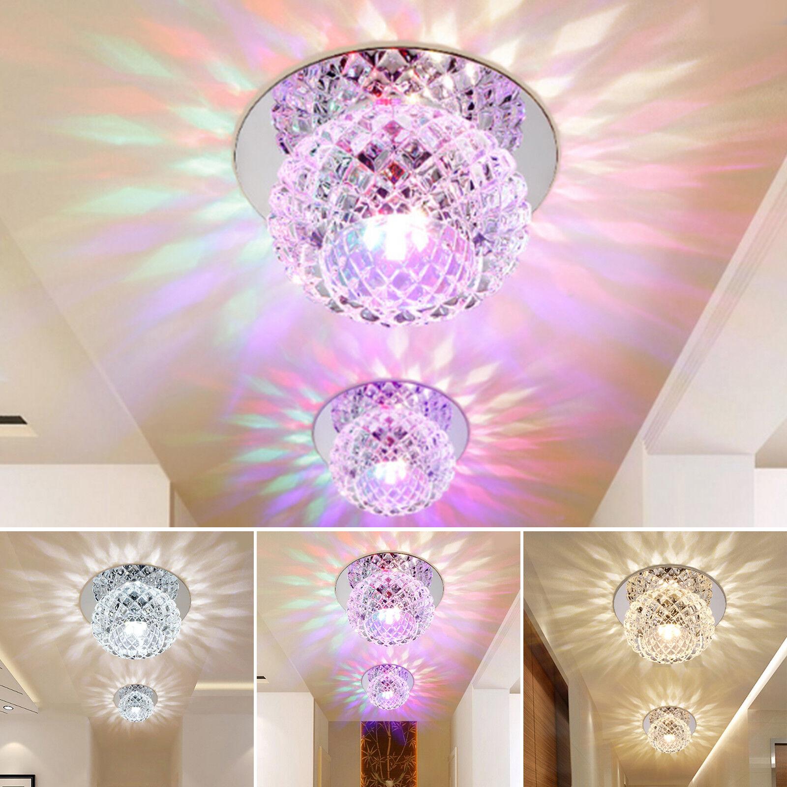 Crystal LED 5W Ceiling Light Fixture Pendant Lamp Lighting Chandelier Spot UK