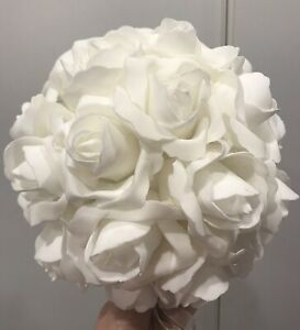 Rose-Ball-Foam-Cake-Topper-Decoration-Bridal-Shower-Party-Cakes-Roses-White