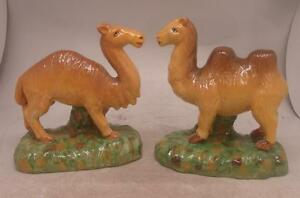 Staffordshire Pottery Pair of Figures - Camels - Companion Pair