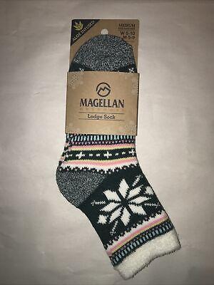 Magellan Lodge Socks Large Black Marl Toe//Heel Contrast Aloe Infused