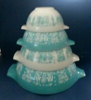 Vintage Pyrex Turquoise Amish Butterprint Cinderella Mixing Bowls Set of 4