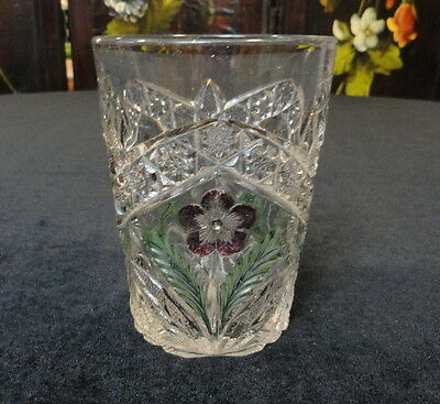 VINTAGE Antique EAPG Pattern Glass GAELIC TUMBLER Decorated Purple Flower