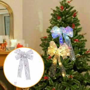 LED-Grosse-Schleifen-Bowknot-Weihnachtsbaum-Ornamente-Weihnachtsdeko-Xmas-Dekor