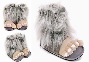 Para-Hombre-Y-Ninos-Grandes-Gris-Bigfoot-Divertido-Novedad-Zapatillas-Talla-7-A-12-Uk-Excelente
