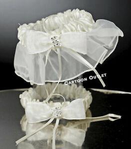 WEDDING-CEREMONY-GARTER-BRIDAL-PARTY-BIEGE-LIGA-DE-BODA-IVORY-Toss-and-Keep-set