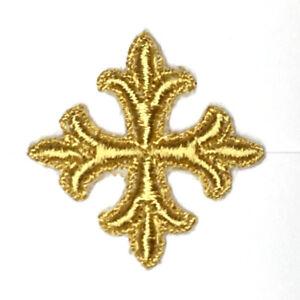 Vintage-Frances-Cruz-1-034-Sobrepuesto-para-Coser-Oro-C261-D-Emblema-Parches-12