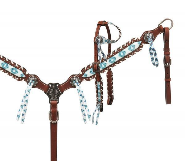 Brown and Teal Navajo Diamond Print Headstall, Reins and Breast Collar Set NEW