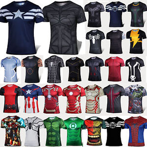 Men-Superhero-T-shirt-Compression-Armour-Sport-GYM-Athlete-Muscle-Jersey-Tee-Top