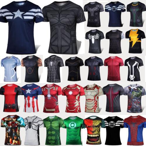 Men Superhero Marvel Short Sleeve T-shirt Compression Sport Gym Fitness Tops Tee