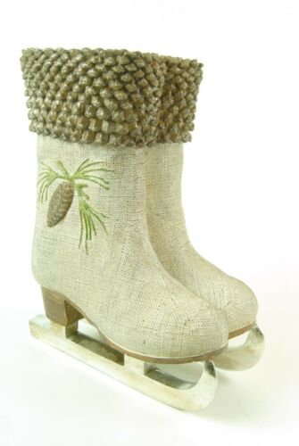 Cream and Brown with Glitter Wintertime Ice Skating Boots Ornament Plant Pot