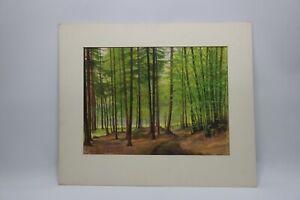Gustav-Mueller-Aquarell-In-Lichten-Wald-1970