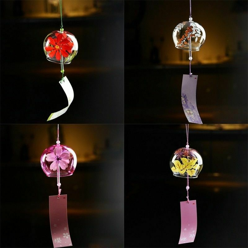 1PC Japanese Style Glass Windchime Blessing Bell Room Hanging Furin Wind Chime y