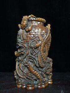 Collect noble natural Boxwood carved Crab shrimp statue Brush Pot Pencil Vase