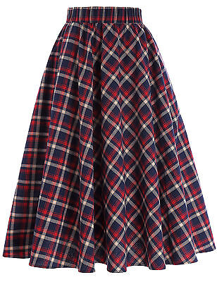 Women Vintage Ruffles Swing British Plaid A-Line School Skirt Cotton/Polyester