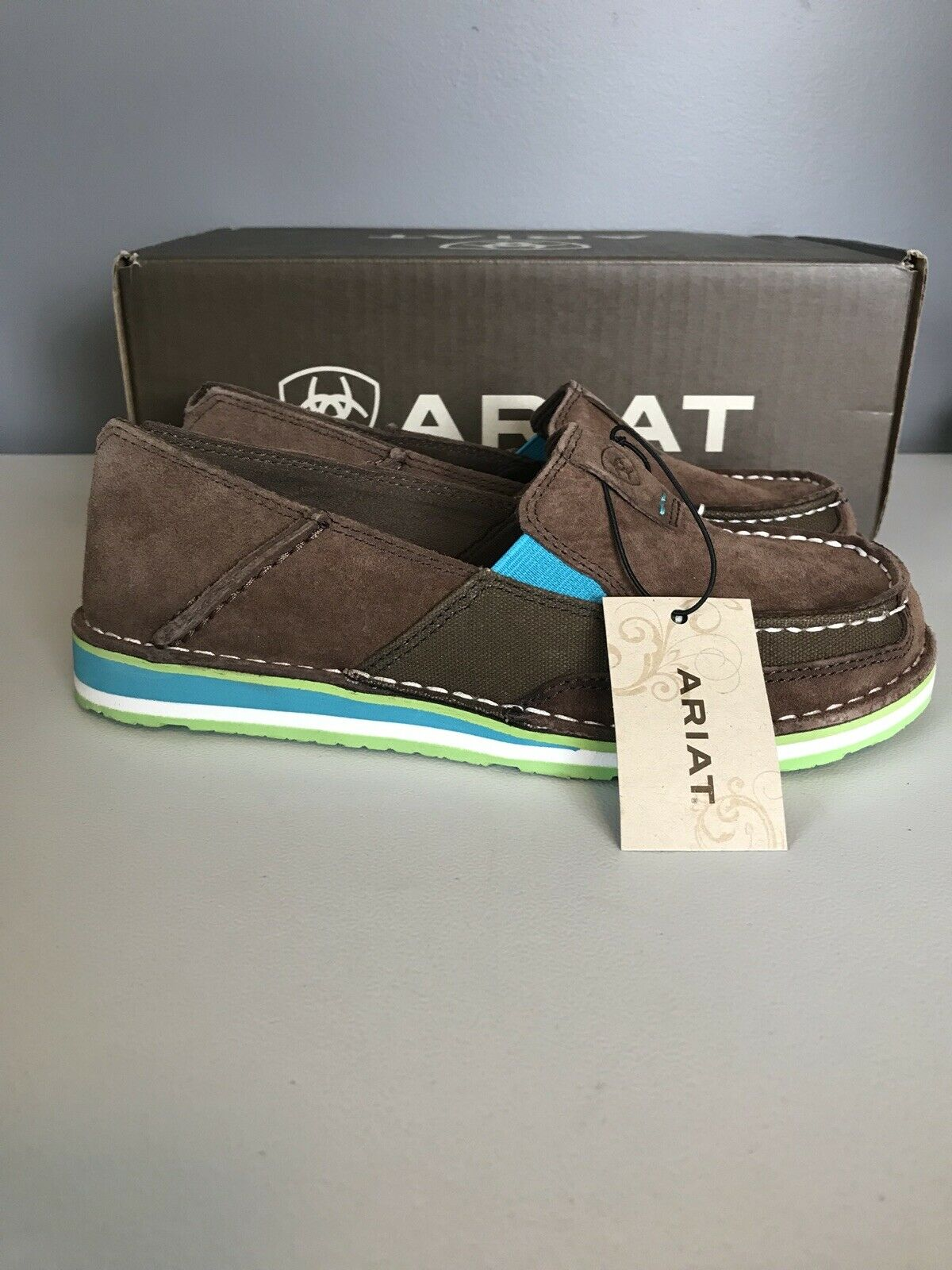 Ariat Cruiser Palm Marronee Turquoise Leather Slip On sautope donna 6