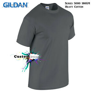 Gildan-T-SHIRT-Charcoal-basic-tee-S-5XL-Small-Big-Men-039-s-Heavy-Cotton