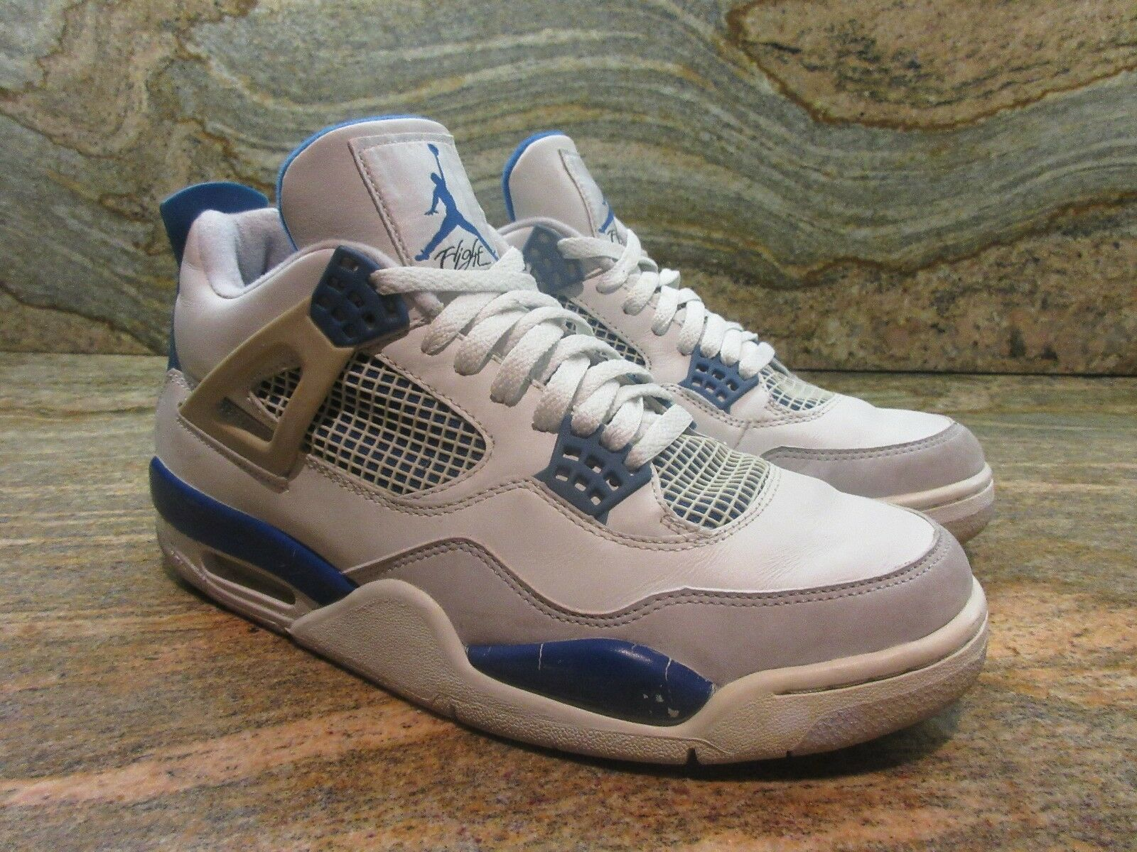 2006 Nike Air Jordan 4 IV Retro OG SZ 9.5 White Military Blue Cement 308497-141