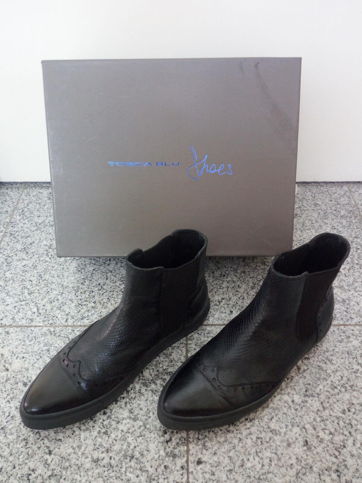 ♥Stiefeletten für Damen von Tosca Blu; Gr: 38; Schwarz; Echtes Leder♥