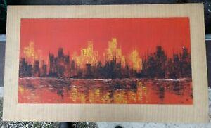 Olbild-modern-Neuhold-betitelt-Skyline-um-1980